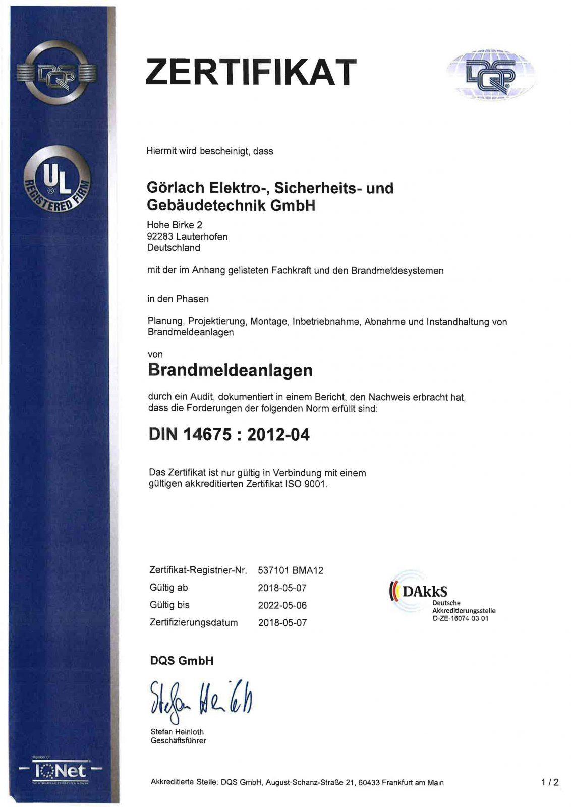 Zertifikat_Brandmeldeanlagen_DIN 14675 Seite 1