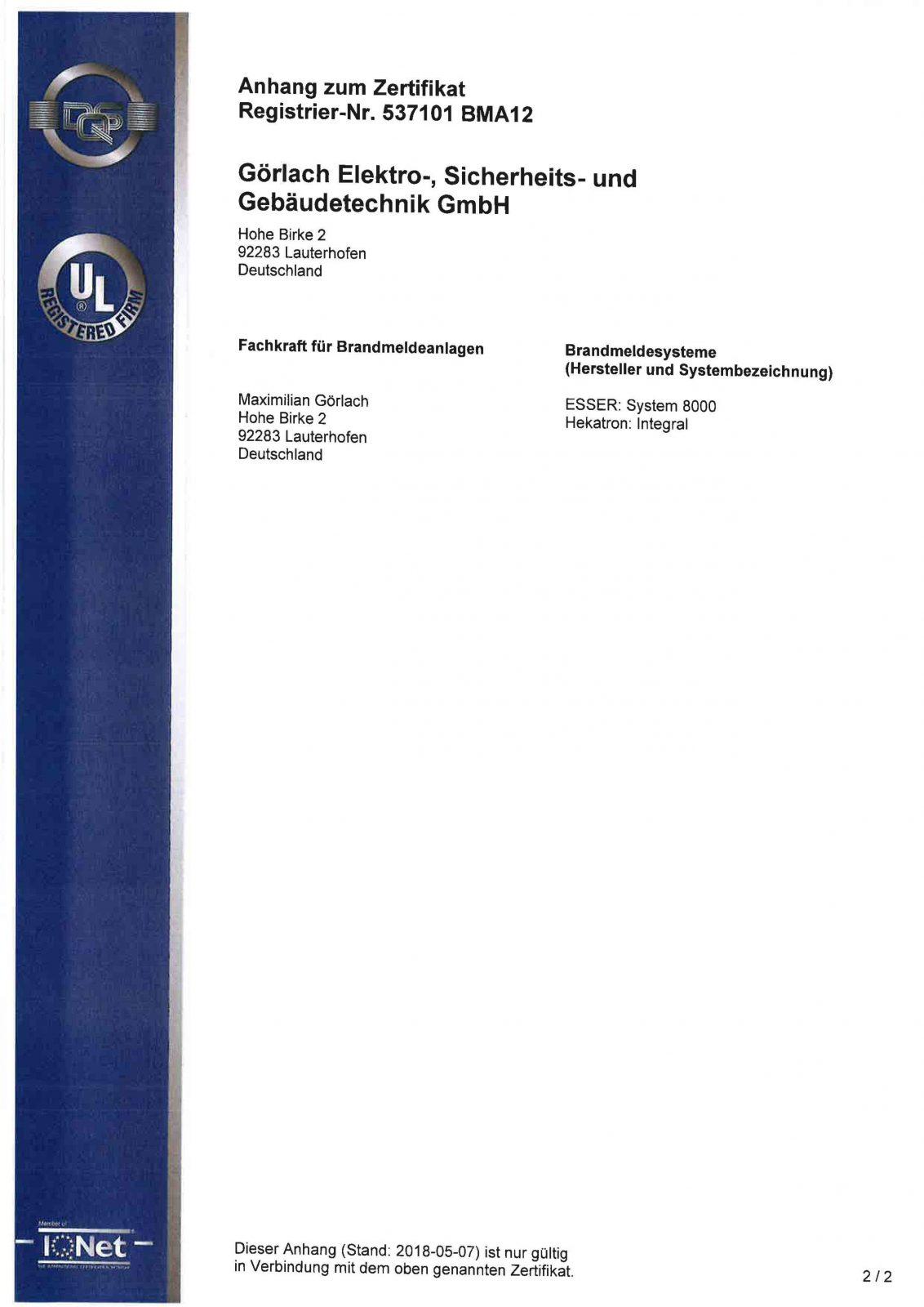 Zertifikat_Brandmeldeanlagen_DIN 14675 Seite 2