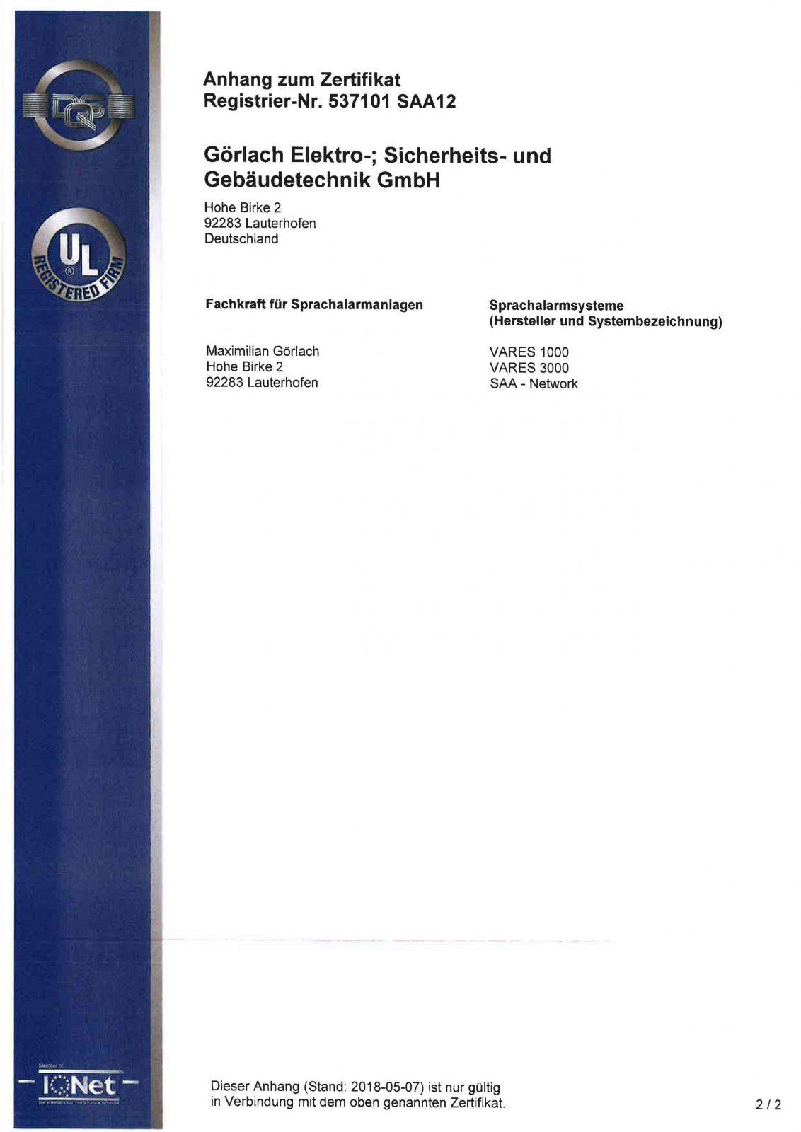 Zertifikat_Sprachalarmanlagen_DIN 14675 Seite2