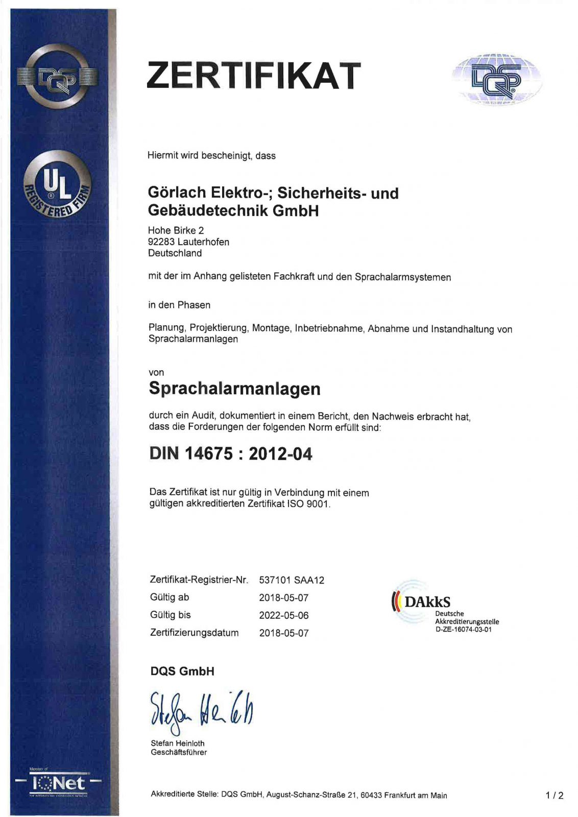 Zertifikat_Sprachalarmanlagen_DIN Seite1